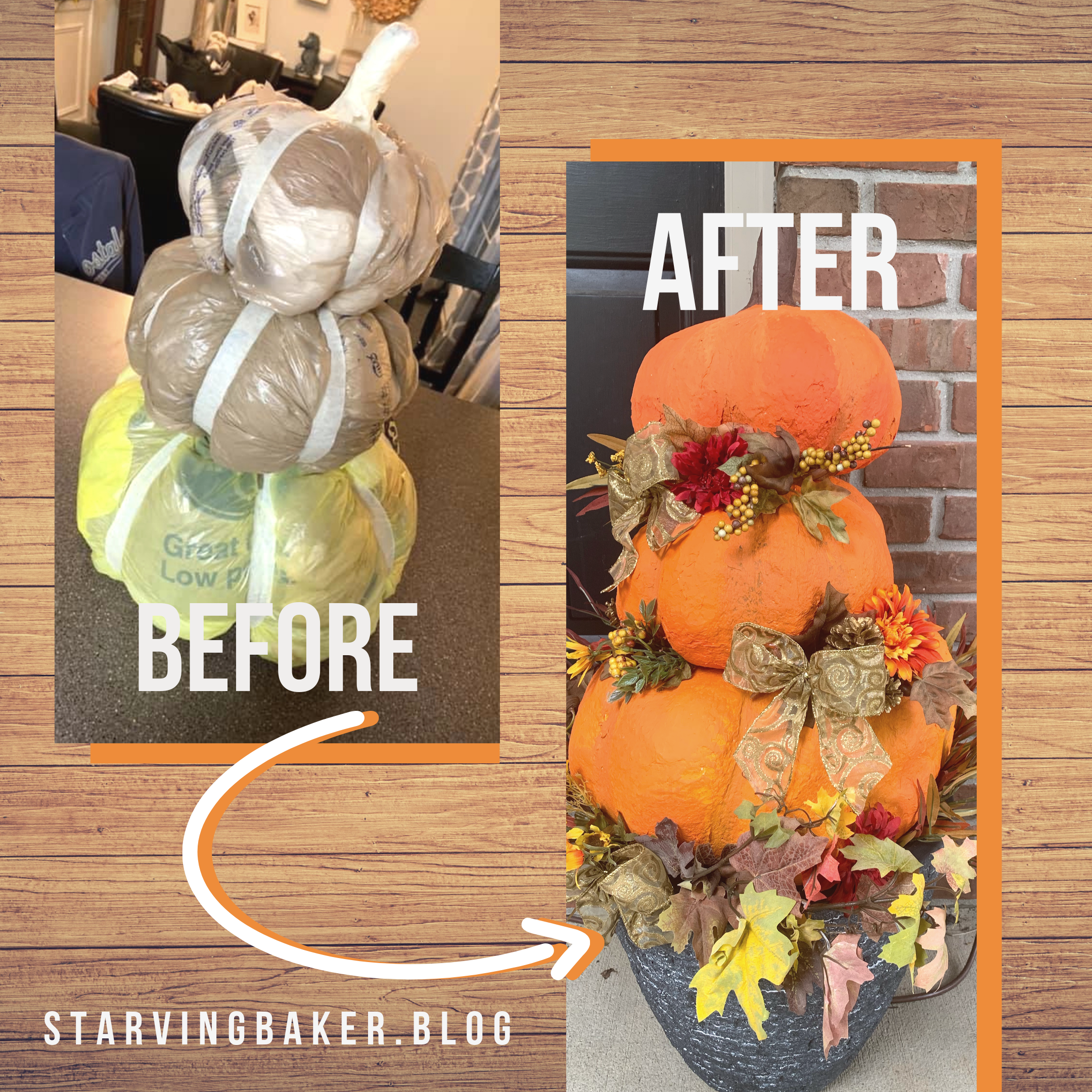 Before & After Pictures of Trash Pumpkins