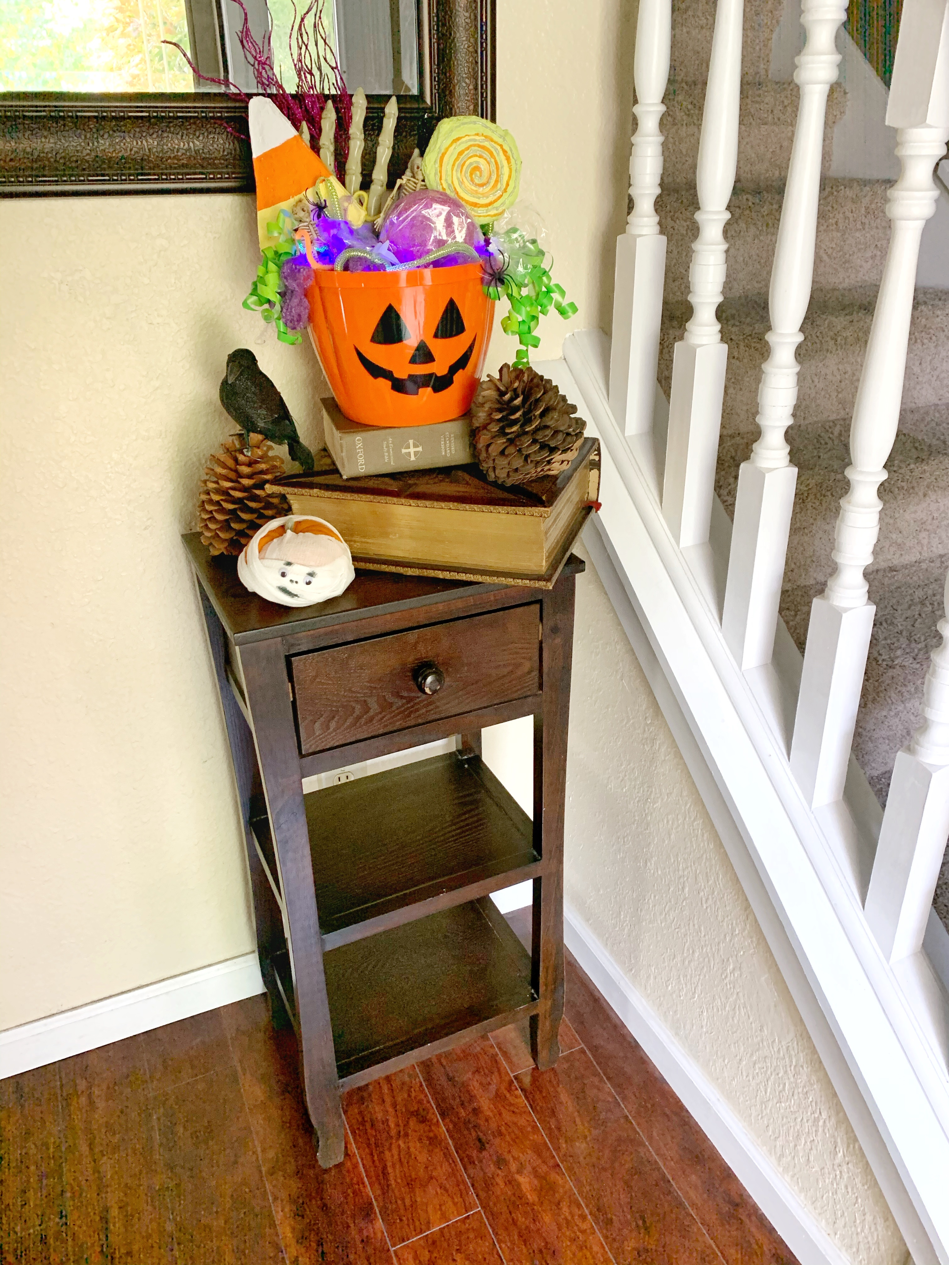 Finished candy bucket in my entry way