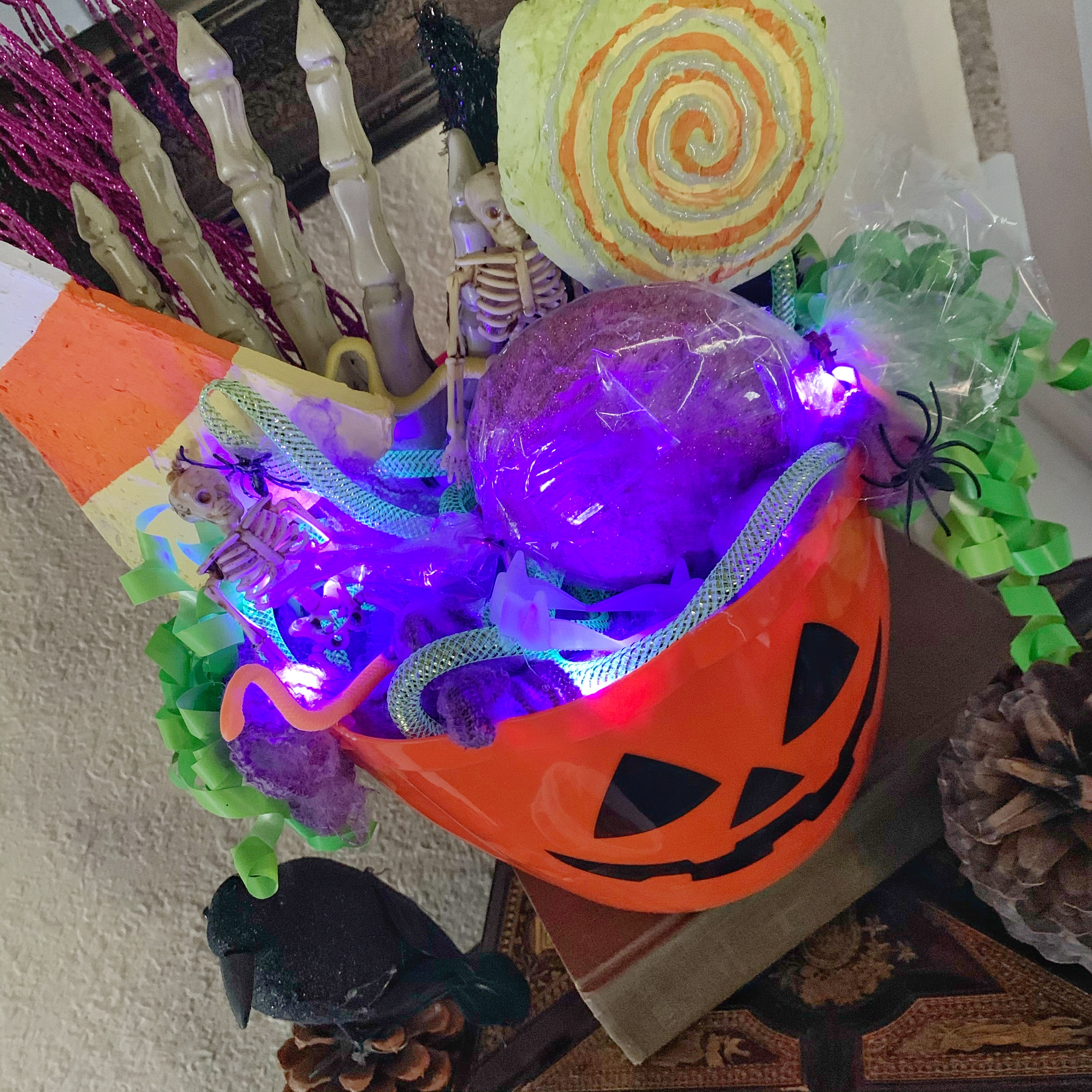 Close up of lights and filled candy bucket