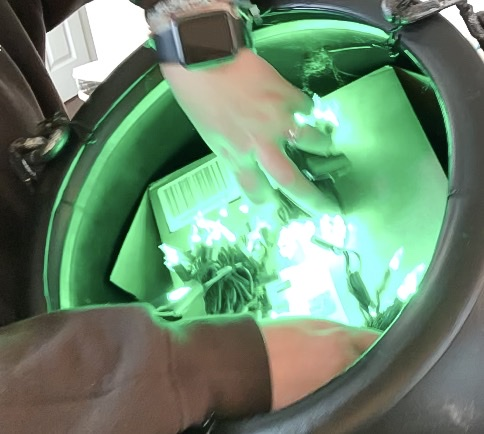Setting up green lights inside cauldron